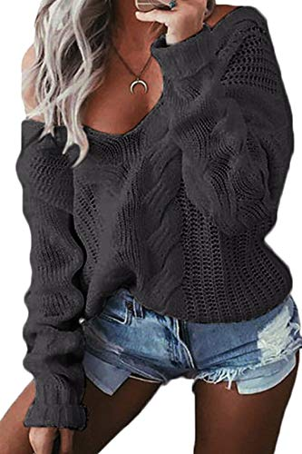 YOINS Oversize Pullover Damen Strickpullover Damen Sexy Off Shoulder Langarmshirt Schulterfrei V-Ausschnitt Causal T-Shirt,Aktualisierung-dunkelgrau,S