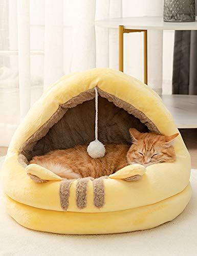 Poyourlla 猫ハウス 冬 可愛い ふわふわ 暖かい 柔らかい 小型犬 キャット ペット小屋 洗える ゃれ 滑り止め ヘアボール セミクローズド 猫用ベッド イエロー L