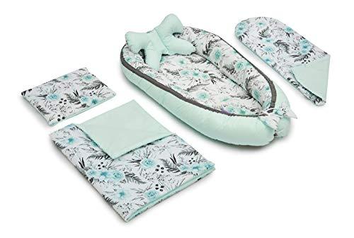 JUKKI Set d équipement initial bébé 5 pièces: nid bébé 50x90cm, coussin d allaitement, couverture douillette, couverture bébé, oreiller, nid bébé, 100% coton, lit parapluie