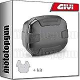 givi maleta trk35b trekker ii 35 black + porta-equipaje compatible con kawasaki versys 650 2015 15 2016 16 2017 17