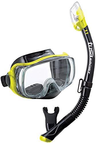 Tusa Imprex 3D Maschera subacquea boccaglio - Set per snorkeling immersione adulto - Nero/giallo