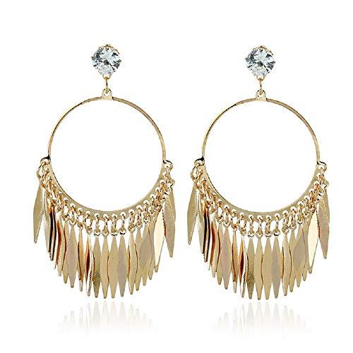 Yazilind 18K chapado en oro de las borlas de los pendientes grandes Pendientes cuelga de la Mujer
