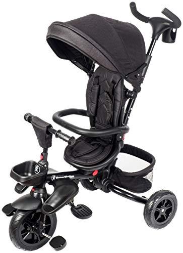 HyperMotion Dreirad für Kinder mit Steuergriff für Eltern, Sicherheitsgurten, bequemem Sattel, breite Rädern, Tobi Majestic Dreirad für Jungen und Mädchen, erstes Fahrrad, Schwarz