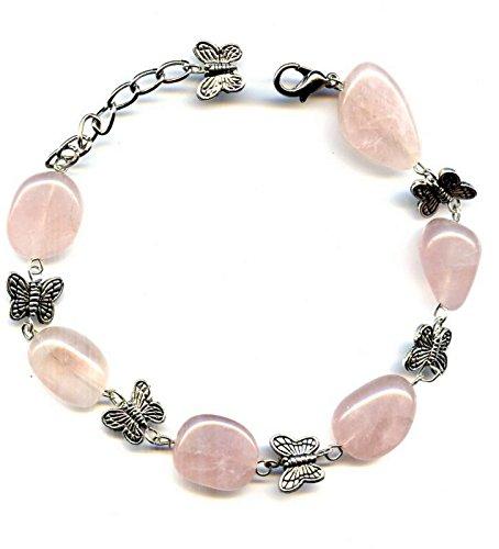 Pulsera de cuarzo rosa y mariposa