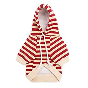 Segarty Puppy Striped Sweatshirt, Cotton Hoodie Winter Jacket Coat for Small Dogs Soft and Warm with Adjustable Drawstring Hood, Red and Beige