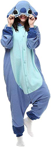HEYCO PJS Adult Stitch Onesie Animal Pajamas Christmas Cosplay Costumes Party Wear Blue, Small