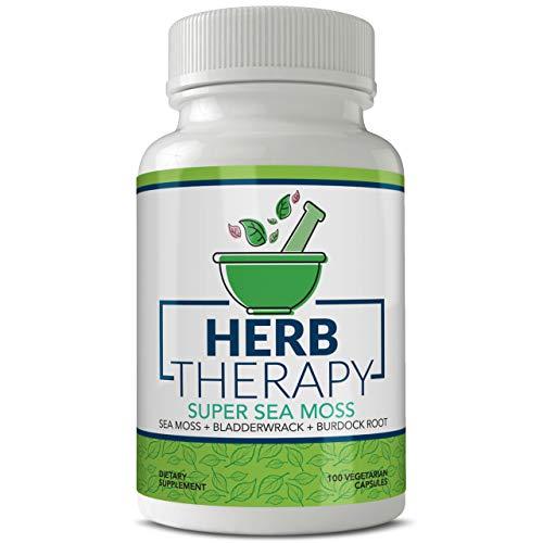 Herb Therapy Sea Moss Capsules (100 Capsules) 1500 milligrams of Organic Raw Irish Sea Moss Plus Bladderwrack Burdock Root Pills USA Made Non GMO