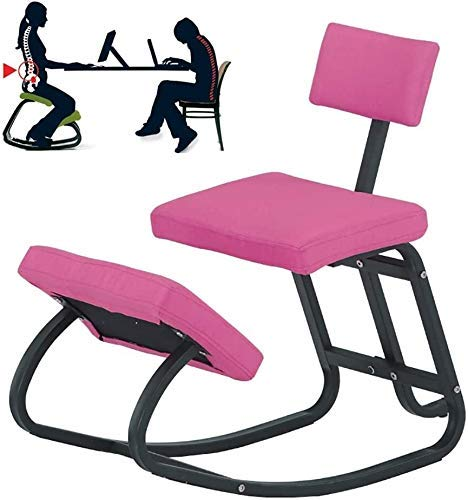 FTFTO Living Decoration Ergonomic Kneeling Chair Ergonomic Kneeling Chair Kneeling Office Chair Perfect for Body Shaping and Relieving Stress Knee Stool for Office & Home Black (Color : Pink)