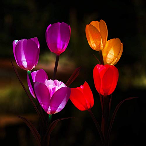 Marcoah Upgraded Solar Flower Lights - Outdoor Waterproof LED Flowers for Garden, Path, Landscape, Patio, and Lawn (Tulip, Yellow and Purple) - 2 Pack