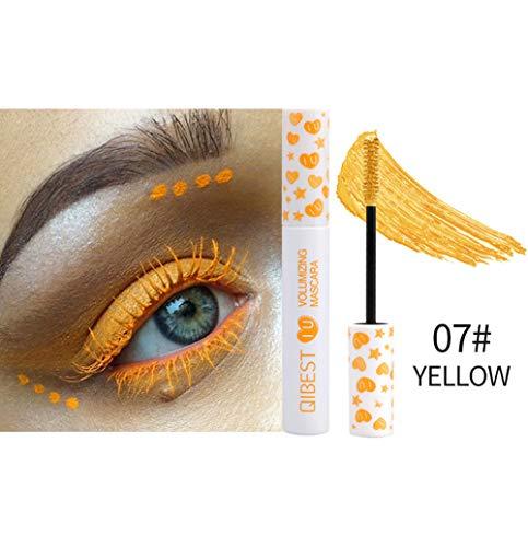 4D Seda Fibra Lash Mascara, Ojos 7 color natural del rimel a prueba de agua largas pestañas a prueba de manchas de maquillaje gruesa y dura más tiempo de maquillaje de ojos con Encanto,Amarillo