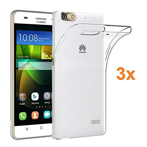 REY 3X Funda Carcasa Gel Transparente para Huawei G Play Mini - Honor 4C, Ultra Fina 0,33mm, Silicona TPU de Alta Resistencia y Flexibilidad