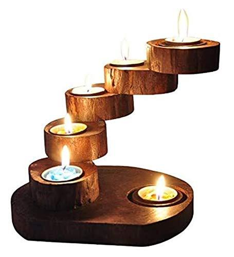Tenedor de velas Decoraciones de candelabros Adornos de candelabros de madera con candelabros de madera, titular de la etiqueta engomada de la vela de madera giratoria, estante de pastelería multifunc