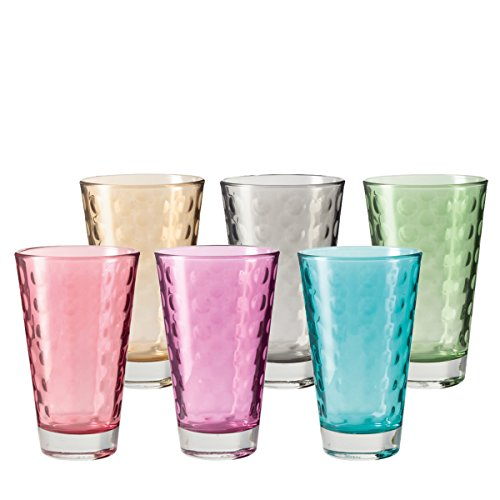 LEONARDO HOME Trinkglas Optic 6-er Set, 300 ml, Wasserglas, Longdrinkglas, Glas Becher, Mehrfarbig, bunt, spülmaschinenfest, 047283
