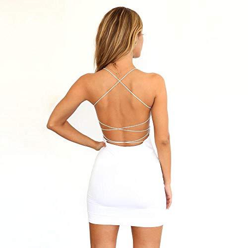 Vestidos De Fiesta Vestir Dress Mujer Niña Vestidos De Fiesta Sexy para Mujer Mini Vestido con Tirantes Sin Espalda-Blanco_L