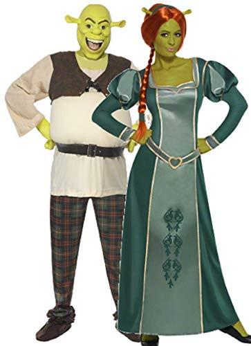 Couples Ladies and Mens DreamWorks Shrek and Fiona Halloween Film Fancy Dress Costumes Outfits (Ladies 12-14 & Mens Medium) Green