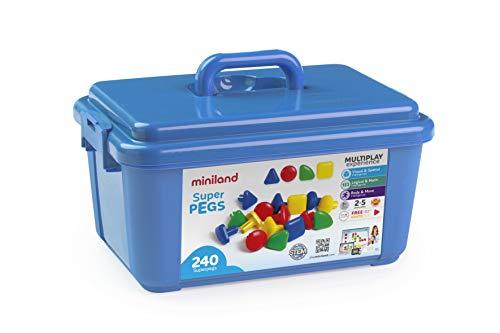 Miniland- Superpegs (240 Piezas) -Primary Colors Pinchos para Pizarra de mosaicos Gigante (95072)