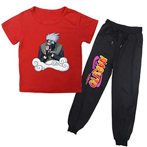 PandaOne Jungen Naruto Sommer Kurzarm Top Shirt Hose Kleidung Outfits Set Sport Set Sportwear (160,Red 05)