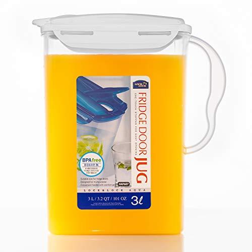 LOCK & LOCK Jarra de plástico sin BPA con tapa abatible, perfecta para hacer té y zumos, Blanco, 3 Liters, 1