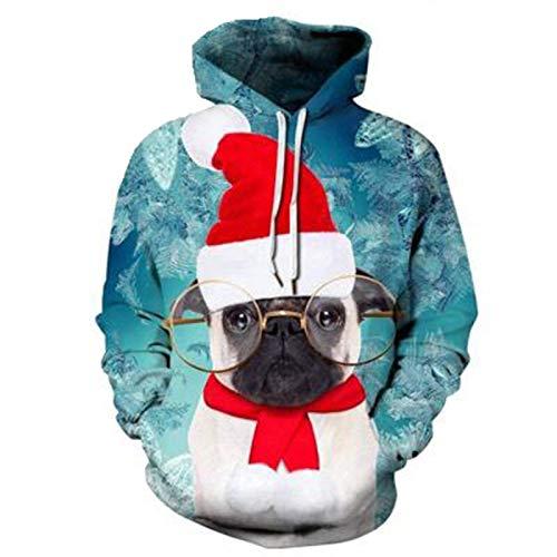 SLYZ Otoño E Invierno Nuevo Suéter para Hombre Navidad 3D Digital Animal Print Cuello Redondo Cordón con...