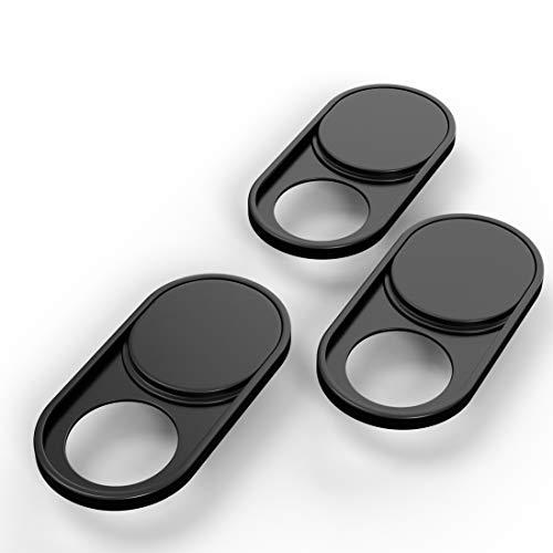 innoGadgets 3X Webcam Abdeckung aus Metall Laptop Webcam Cover Anti Spionage Schutz Kamera Sticker Ultra dunnes Design Starker Halt mit 3M Tape Metall Schwarz