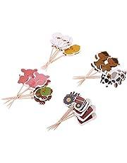 MagiDeal Animal Farm Thema Taart Topper Taartdecoratie Cupcake Topper Taart Prikkers Voor Baby Shower Verjaardagsfeestje Voor Kinderen Decoratie, 24 Stuks