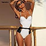 B/H Sexy Mujer Top Bikini Talle Alto,Sexy Push Up Retro Traje de baño de una Pieza,Traje de baño Hueco de cinturón de Cintura Alta-White_S,Traje de Baño Mujer Atractivo Sujetador