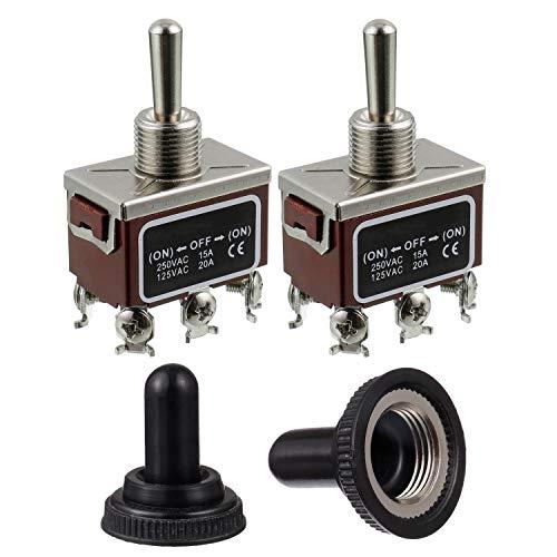 BOJACK RT1322FS Interruptor de palanca 125V 20A Interruptores de reinicio automáticos momentáneos 250V 15A DPDT 6 terminalesON -Off- ON con tapa impermeable (paquete de 2 piezas)