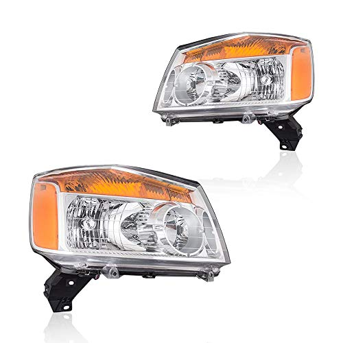 Headlights Assembly for 2004-2015 Nissan Titan Pickup Truck and 2005-2007 Armada for Left and right Passenger Size with OE Replacement # 26060ZC30A 26010ZC30A
