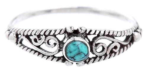 WINDALF Zarter Boho Ring NAIRNE 0.5 cm Türkis Mittelalterliche Ornamentik Vintage 925 Sterlingsilber (Silber, 66 (21.0))