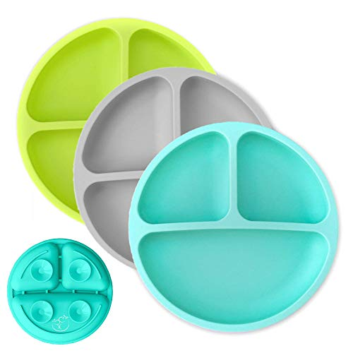 Hippypotamus Toddler Plates with Suction - Baby Plates - 100% Food-Grade Silicone Divided Plates - BPA Free - Microwave & Dishwasher Safe - Set of 3 (Teal/Gray/Lime)