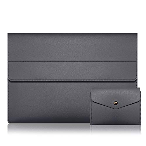 Alfheim 12.3-13 inch Leather Laptop Sleeve, Waterproof & Slim Notebook Protective Case, Magnetic Synthetic Briefcase Cover with Small Bag for Macbook Pro/Macbook Air/Surface/Dell/Huawei