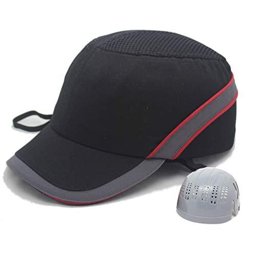 YDDZ Harte Hüte Baseball Bump Cap Sicherheit Innenschale Schützt Kopf 5,5 cm Kurze Krempe 360 ° Atmungsaktiv 3-Gang-Schnalle Einstellgröße Erfüllt EN8 12 Sicherheitsstandards