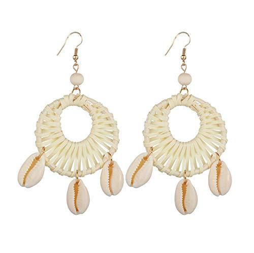 NA Studs Earrings for Women Handmade Bamboo Woven Shell Pendant Long Earrings Party Jewellery Gift