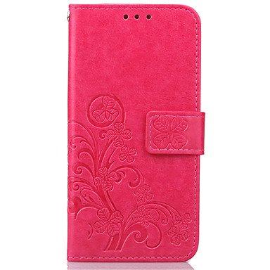 Handy schützen, Luxus-Glücksklee Portemonnaie Lederklappetui für Samsung-Galaxie s3 Mini / s4 Mini / s5 Mini Samsung (Farbe : Beere, Kompatible Modellen : Galaxy S4 Mini)