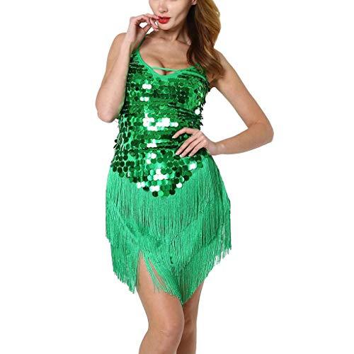 Vestido Latino Mujer para Danza Clásica Salsa Tango Samba Rumba Vestido con Lentejuelas Flecos Flequillos Borla Brillante Traje de Baile Latino Danza Latina, Vestido de Tango, Traje de Carnaval