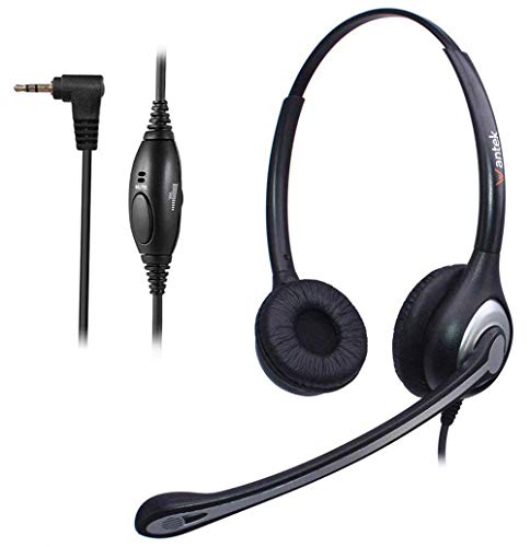 Auriculares 2,5 mm Binaural con Cancelación de Ruido Micrófono y Control de Volumen, WANTEK Cascos Teléfono Fijo Inalámbrico para Polycom Siemens Gigaset Cisco Linksys SPA Teléfonos DECT(602J25D)