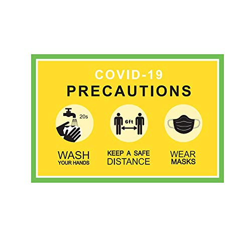 Mask Sign Precautions Stickers for Your Safety Wash Your Hands, Wear a Mask and Keep Social Distance Sign 12' x 8' Pack of 3