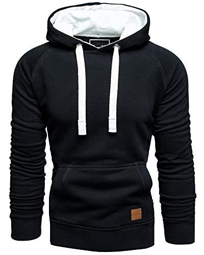 Amaci&Sons Herren Basic Kontrast Kapuzenpullover Sweatjacke Pullover Hoodie Sweatshirt 1-04027 Schwarz L