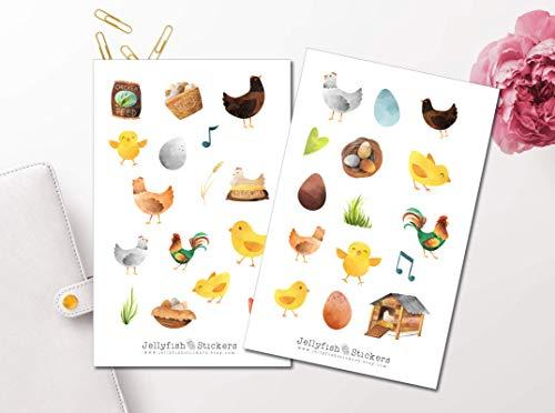 Hühnerfarm Sticker Set | Niedliche Aufkleber | Journal Sticker | Planersticker | Sticker Hühner, Küken | Sticker Tiere, Farm, Land, Eier