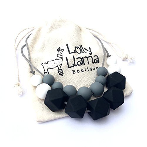 Teething Necklace for Moms to wear -Silicone Baby Teether, Nursing Necklace with BPA Free Chewbeads (Classic)