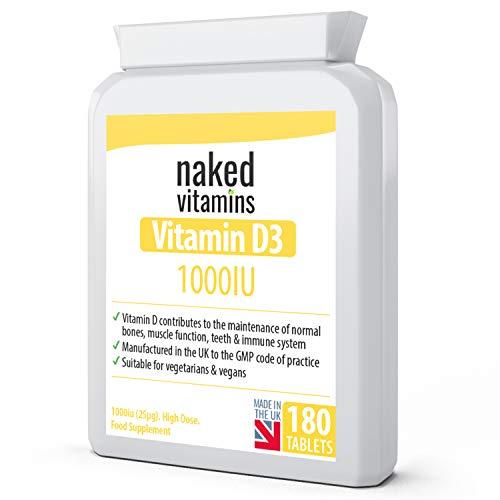 Vitamin D3 1000iu (25µg) Cholecalciferol - 180 Vegan Tablets - for Immune Support, Bone Health & Teeth - UK Made by nakedvitamins