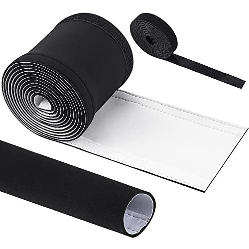 VoJoPi Organizador Cables, 300cm Flexible Neopreno Funda Cubre Cables +300cm Corte Fácil Negro Bridas, Organizador de Cables para Office y PC Escritorio - Reversible en Blanco y Negro - (∅ 2,5 cm)