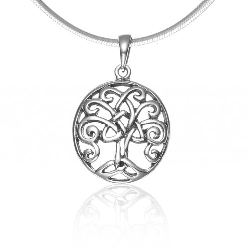 925 Sterling Silver Celtic Knot Filigree Trinity Tree Of Life Oval Pendant Necklace, 18 inches