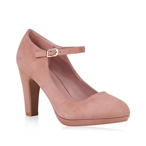 Damen Pumps Mary Janes Veloursleder-Optik High Heels Blockabsatz 153164 Rosa 40 Flandell