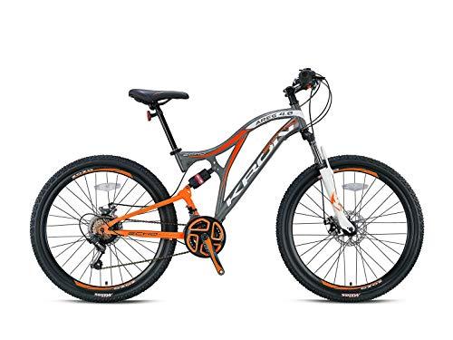 KRON ARES 4.0 Fully Mountainbike 27.5 Zoll | 21 Gang Shimano Kettenschaltung mit Scheibenbremse | 16.5 Zoll Rahmen Vollgefedert MTB Erwachsenen- und Jugendfahrrad | Grau Orange