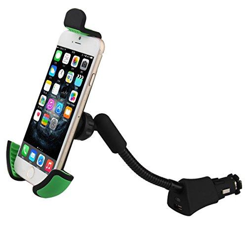 Car USB Charger Holder, Universal Car Mount Cell Phone Gooseneck Cigarette Lighter Socket Holder Stand for iPhone X 8 7 6 5 4 Plus Samsung GPS PDA etc Mobile Device