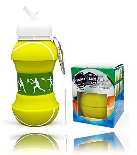 Botella de agua plegable de silicona para niños, regalo deportivo para niños, sin BPA, limpiador de pajitas, a prueba de fugas, duradera y respetuosa con el medio ambiente, 550 ml,Tenis.