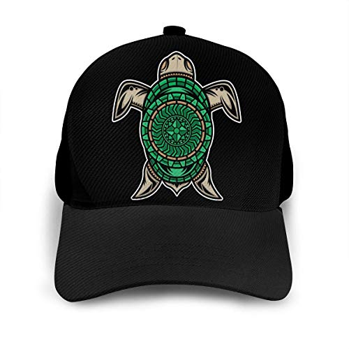 Diseño de Tatuaje de Tortuga Polinesia Gorra de béisbol Ajustable Unisex Gorras de Hip Hop Lindas Sombrero de papá Negro