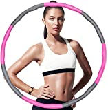 CAMORF Weighted Hula Hoop for Adults,Soft EVA Foam Padded hula hoops for fitness,Detachable 8 Section 95cm hula hoop for Kids For Exercise,Lose Weight,Fat Burning,Dance - Bag & Waist Ruler as Gift