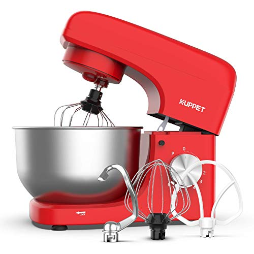 KUPPET Stand Mixer, 8-Speed Tilt-Head Electric Food Stand Mixer with Dough Hook, Wire Whip & Beater, Pouring Shield, 4.7QT Stainless Steel Bowl - Red